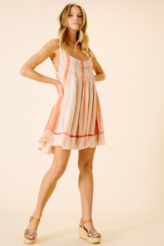 Hazel Pleated Strap Dress | Peach Stripe