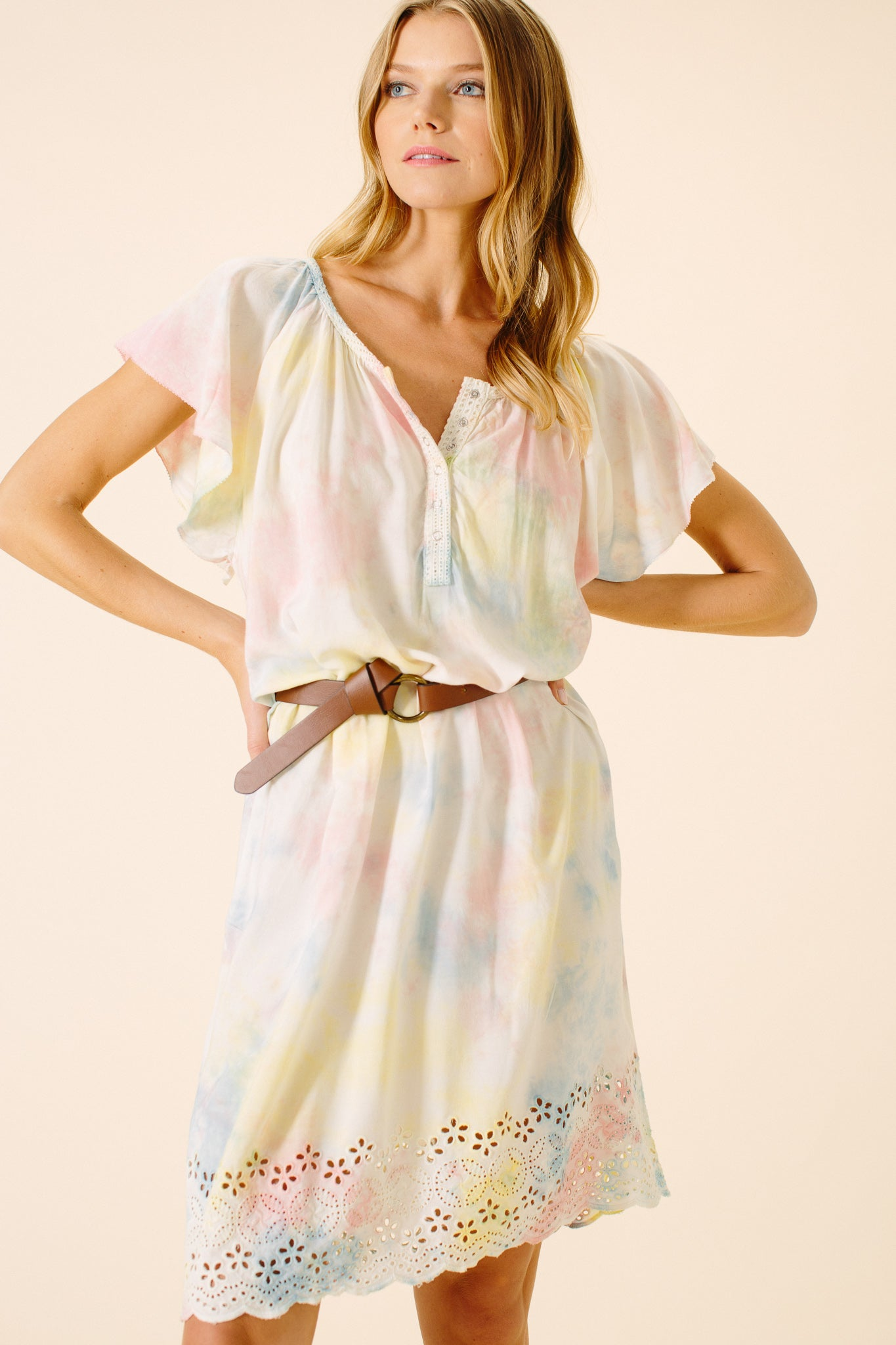 Claire Eyelet Shirt Dress | Tie Dye
