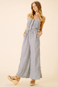 Catalina Pocket Jumpsuit | Navy Stripe