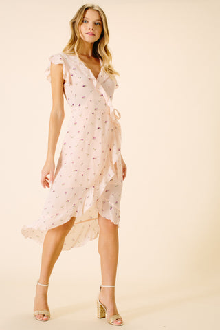 Harper Ruffle Wrap Dress | Pink Floral