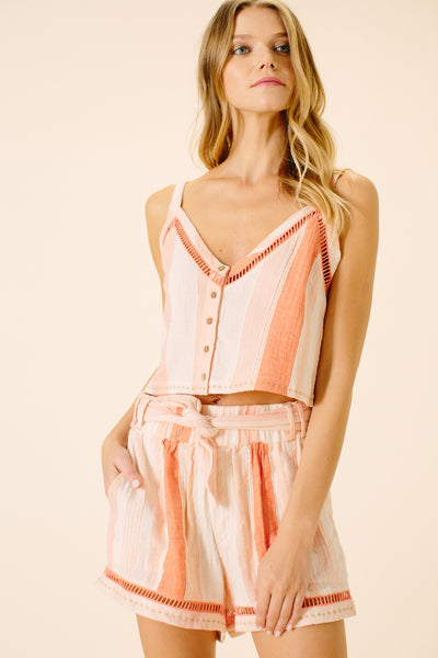 Abigail Tied Sash Shorts | Peach Stripe