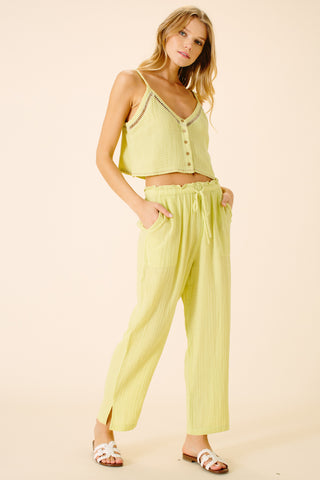 Kumiko Tie Front Pant | Lime