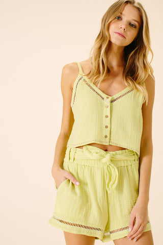 Abigail Tied Sash Shorts | Lime