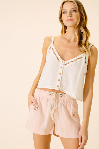Lima Tab Detail Shorts | Blush