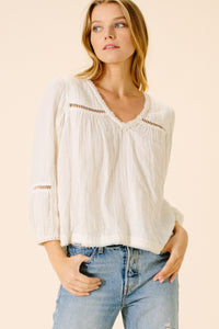 Aaliyah V-Neck Blouse | White