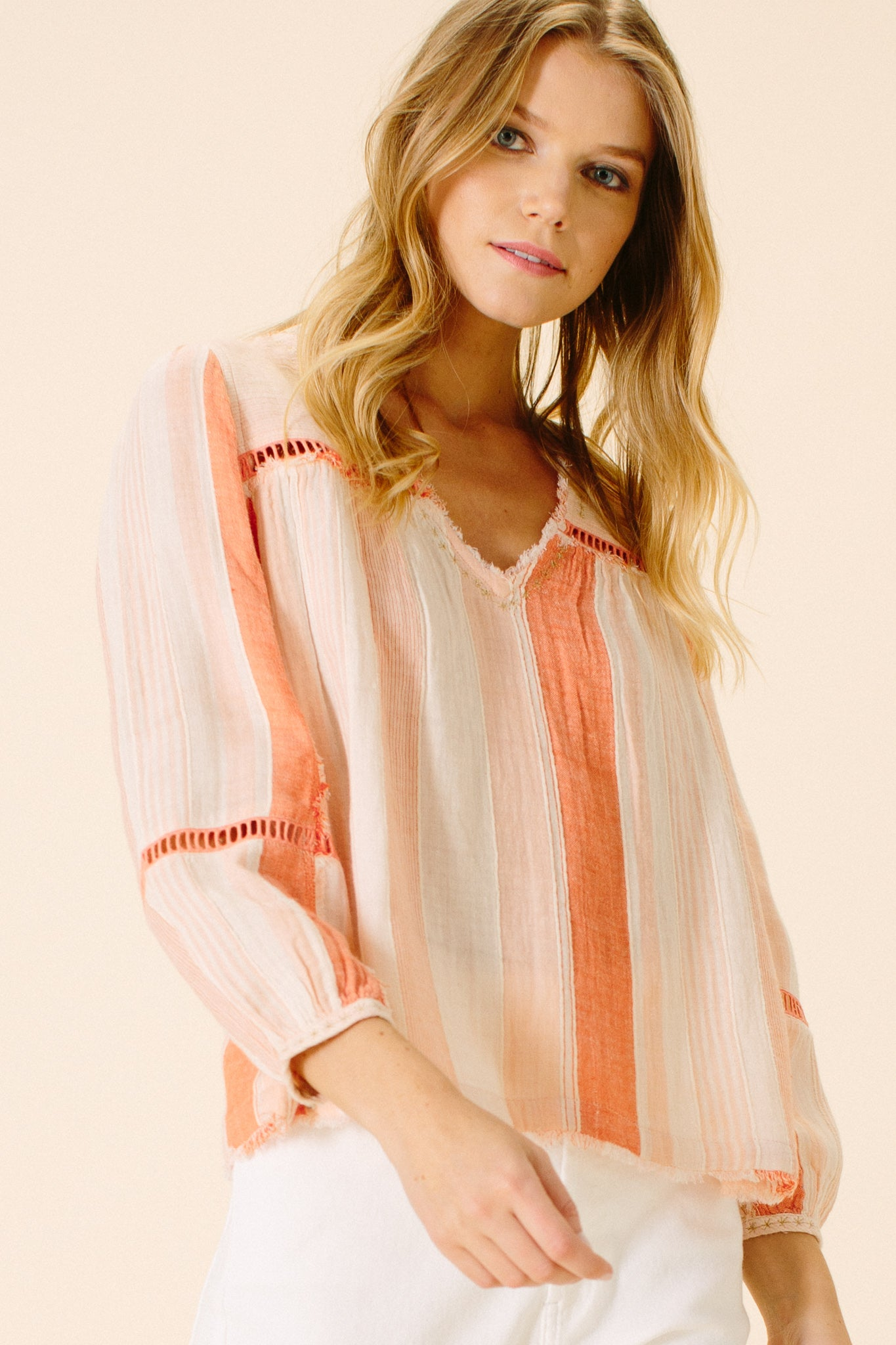 Aaliyah V-Neck Blouse | Peach Stripe