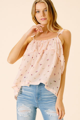 Amber Ruffled Cami | Pink Floral