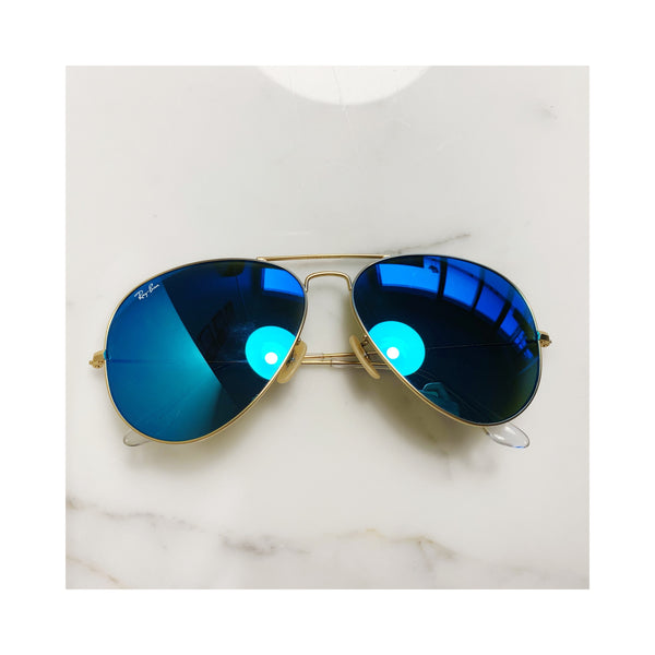 Blue Reflecting Aviators Raybans