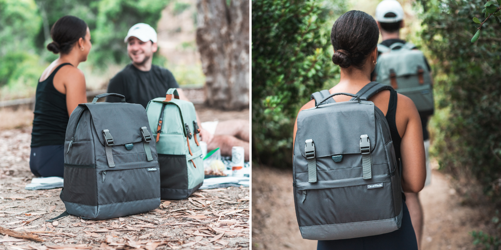 Girl and guy hiking and picnicking with a clevermade solana backpack cooler