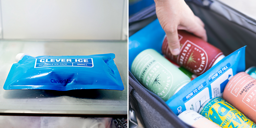 clevermade clever ice in freezer and in a cooler with cans