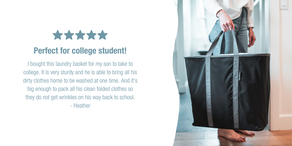 CleverMade collapsible Laundry caddy being carried with a review