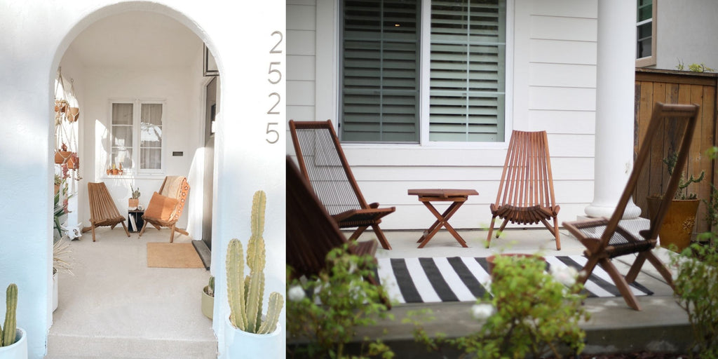 CleverMade Tamarack Chairs on Front Porch and in Backyard
