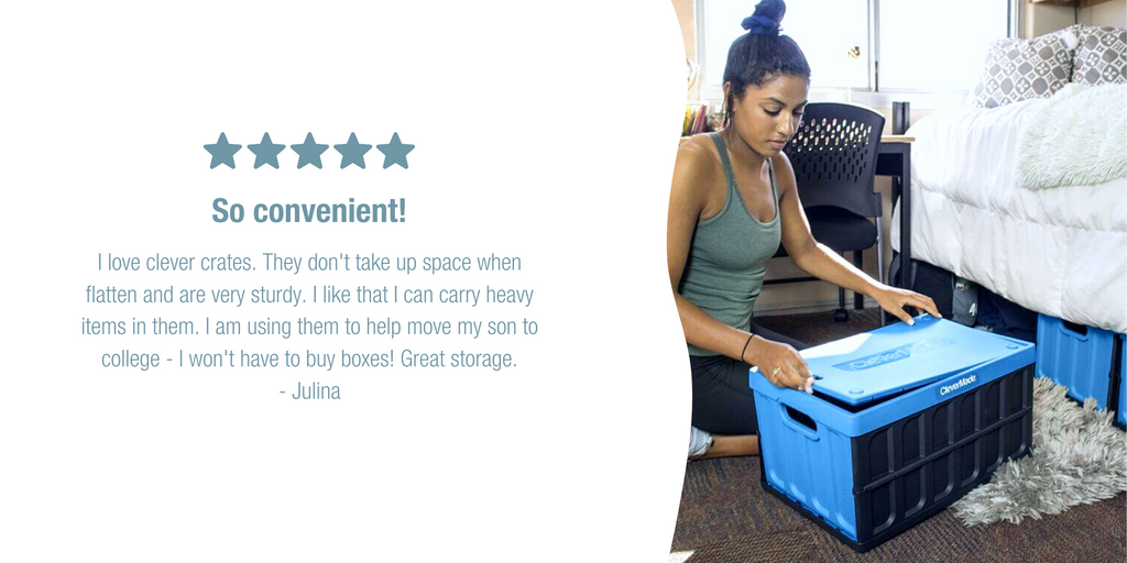 CleverMade storage bin in college dorm room with review
