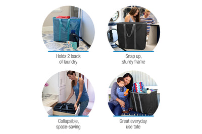 Laundry Caddy - Collapsible Laundry Basket & Hamper, Holds 2 Loads
