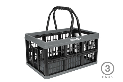 16 Liter Collapsible Shopping Basket - 3 Pack