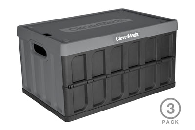 CleverCrates 3 Pack – Collapsible 46 Liter Utility Crate with Lid