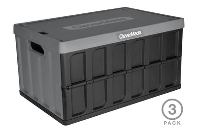 62 Liter CleverCrates 3 Pack – Collapsible Utility Crate with Lid