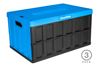 CleverCrates 3 Pack – Collapsible 62 Liter Utility Crate with Lid