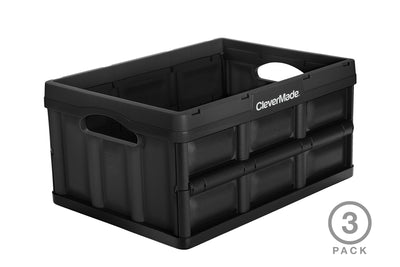 CleverCrates 3 Pack – Collapsible 32 Liter Utility Crate