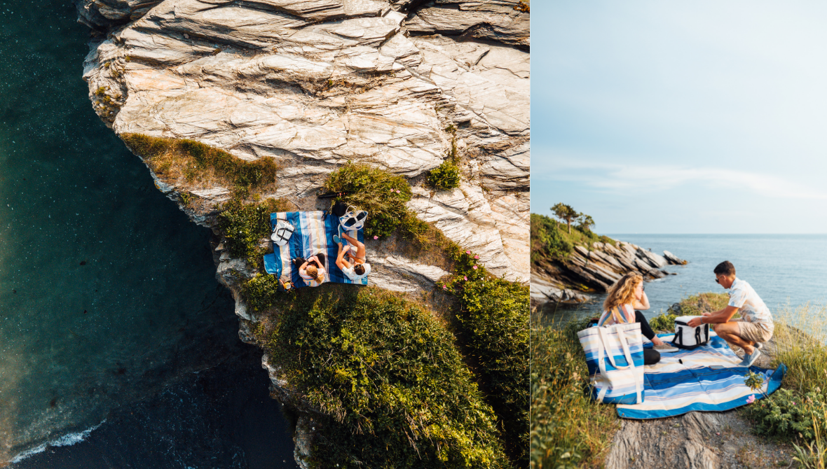 Couple picnicking on cliffside with the CleverMade BackSak Beach Tote