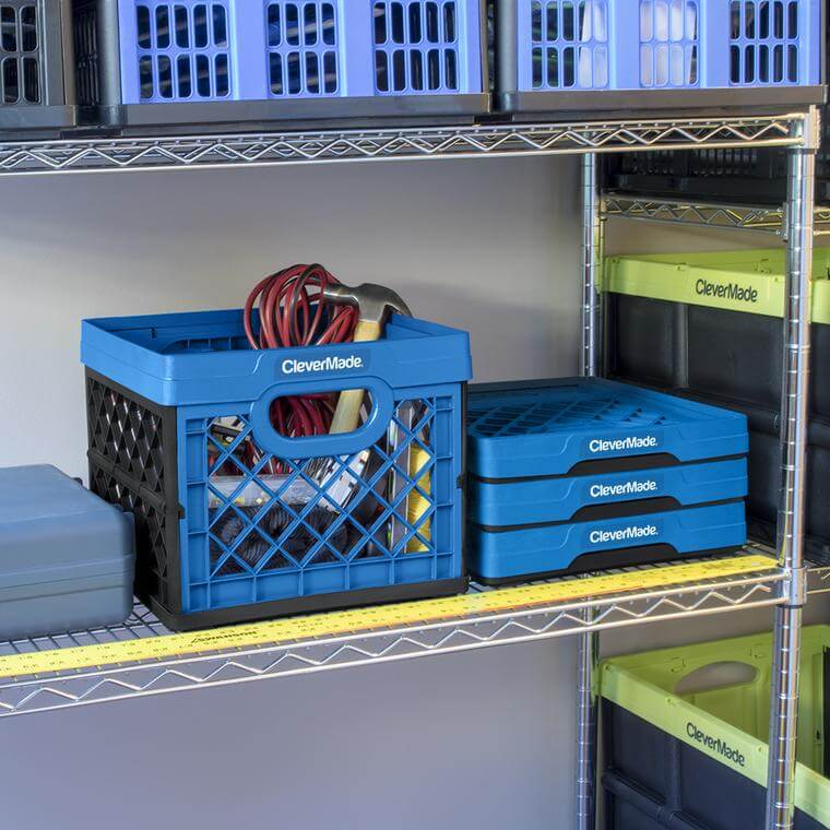 A stack of CleverCrate® Milk Crates in the garage on a rack