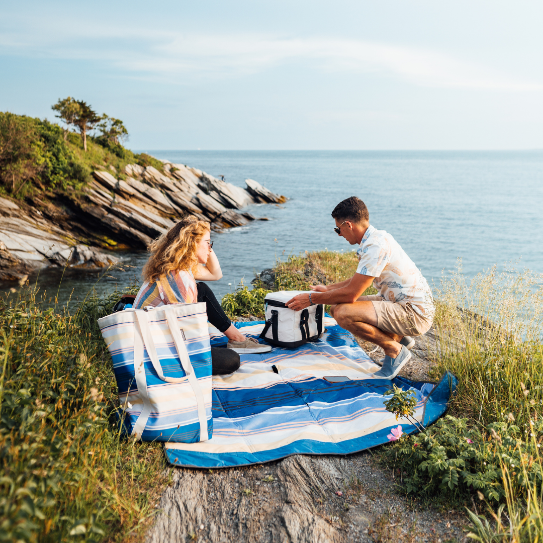 Backsak Beach Tote and Pack & Go Blanket Picnic on a Cliff