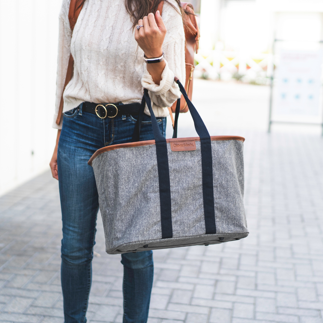 woman carrying Collapsible LUXE Tote on her arm