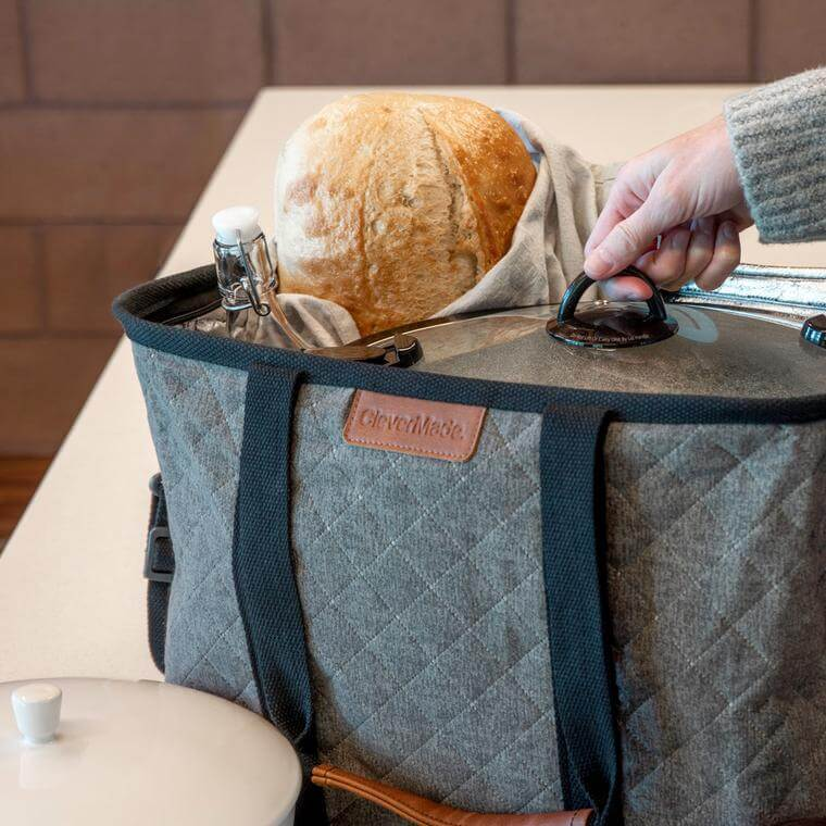 bread and crockpot inside a SnapBasket Thermo LUXE Tote
