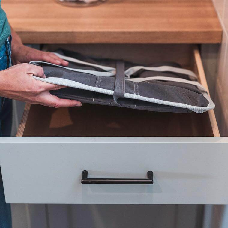 Laundry Basket Tote being store in a drawer