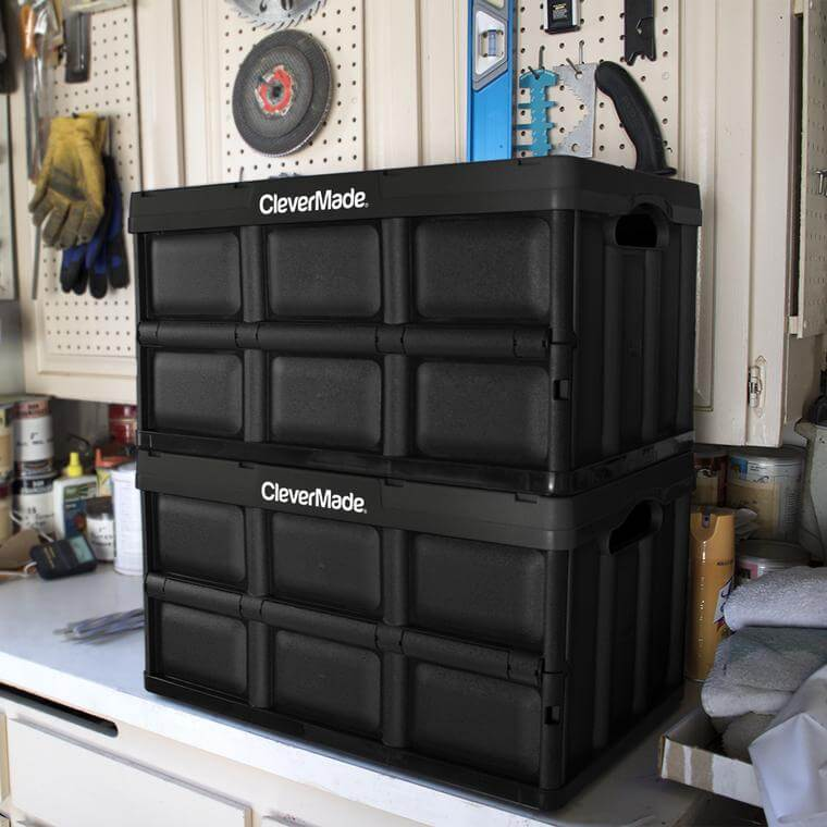 Stack of 2 CleverCrate® Storage Bins in Black