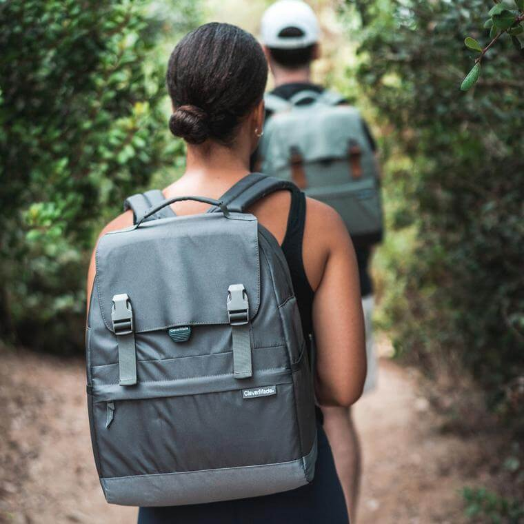 Woman hiking with a Solana Backpack Cooler