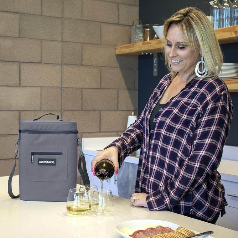 Woman pouring wine with Wine Cooler