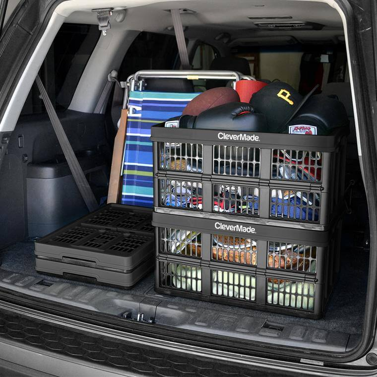 Stack of CleverCrate® Utility Crates in Black in the back of a car