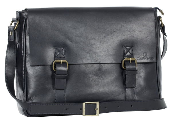 Cavallo Scuro Mens Genuine Leather Double Buckle Large Cross Body Messenger Bag (DoubleBuckle - Black) - Cavallo Scuro