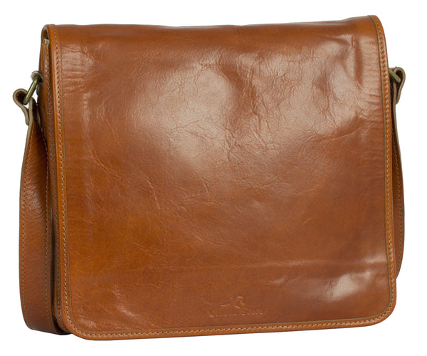 Cavallo Scuro Mens Genuine Leather Italy Cross Body Briefcase Office Shoulder Bag - Cavallo Scuro