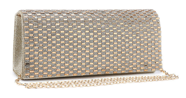 Diamante Encrusted Evening Clutch Bag - Beryl - Mabel London