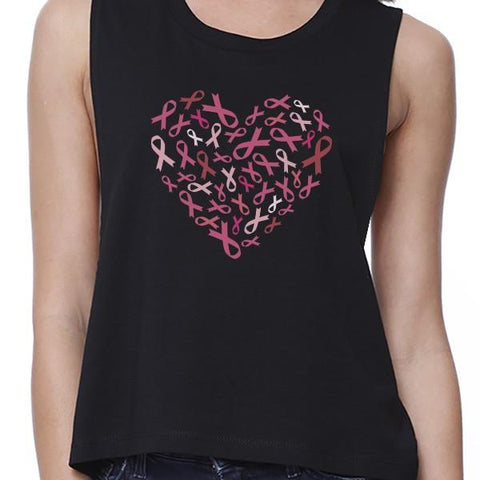 Image of Pink Ribbon Heart Womens Black Crop Top