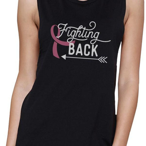Image of Fighting Back Arrow Womens Black Muscle Top