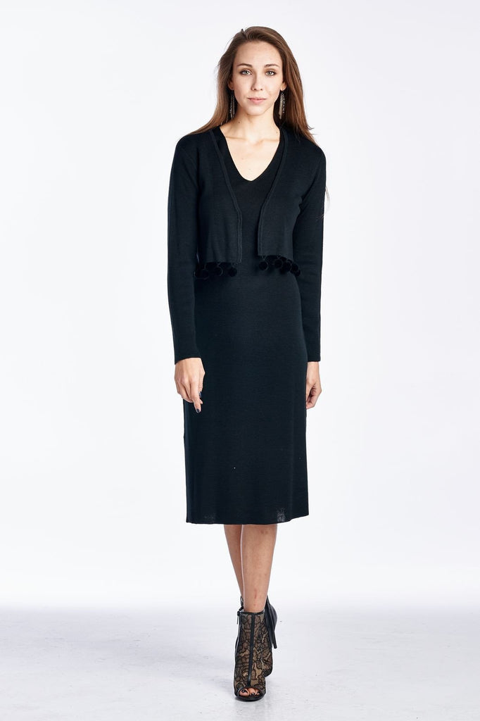Women's Wool 2 Piece Sweater Dress with Ball Trim