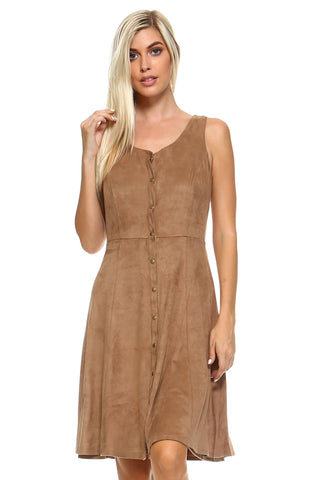 Image of Women's Button Down Camel Suede Sleeveless Midi Dress