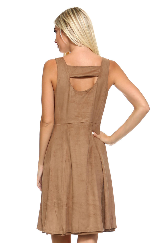 Women's Button Down Camel Suede Sleeveless Midi Dress