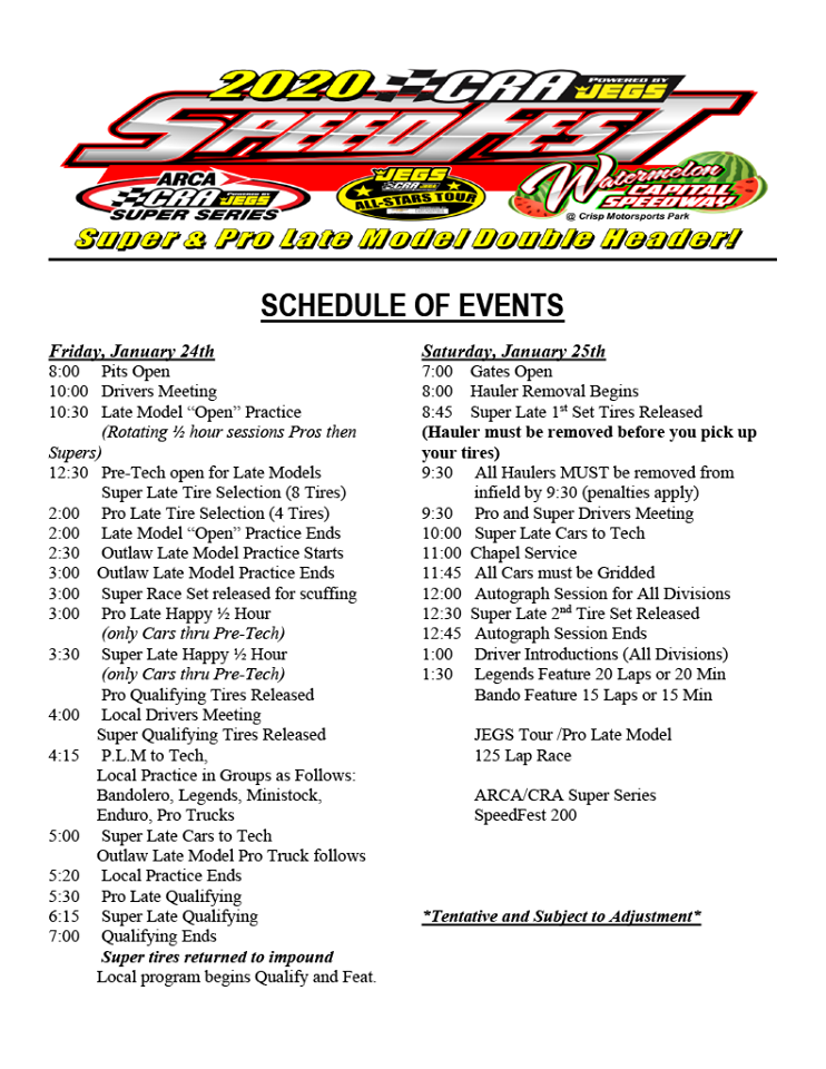 2020 Speedfest Schedule