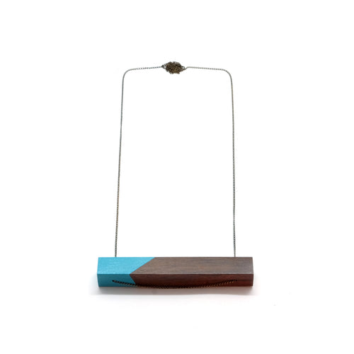 Necklace - Light Turquoise Bar