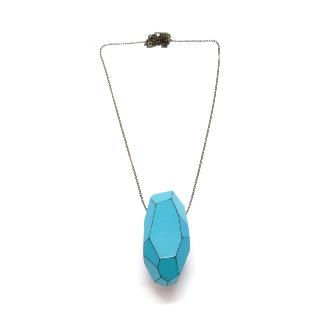 Necklace - Faceted Light Turquoise