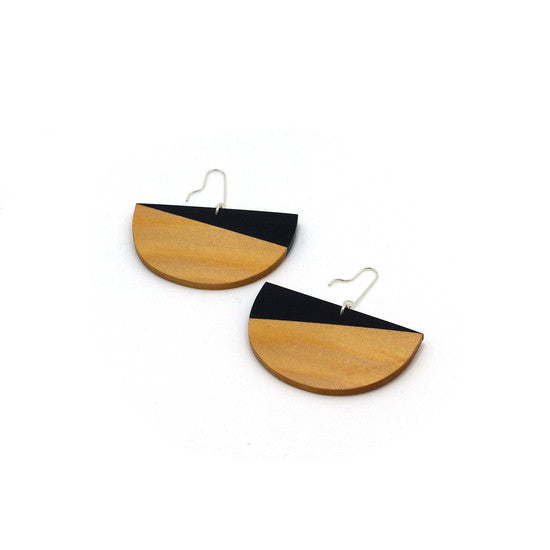 Earring - Half Moon Black