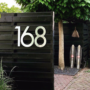 Brushed stainless steel individual numbers 50cm - you choose the font
