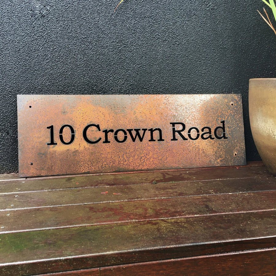 Corten steel house sign NZ