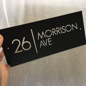 Brushed stainless steel custom address sign 28cm x 12cm