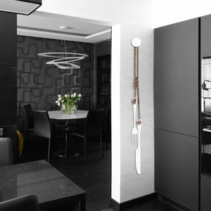 White steel cutlery decor on modern kitchen wall NZ