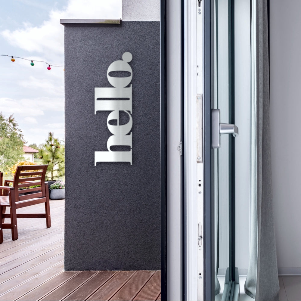 Brushed stainless steel hello sign NZ